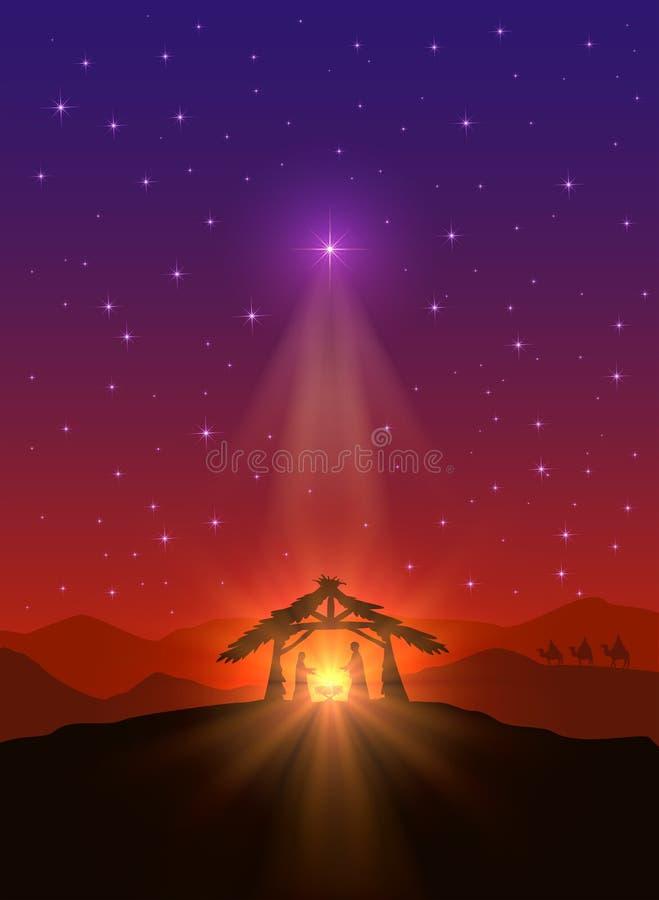 stjärna för natt för julfractalbild royaltyfri illustrationer
