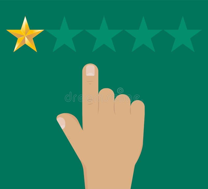 Stjärna för negativ granskning 1 Värderingsguldstjärnor Handen indikerar a vektor illustrationer