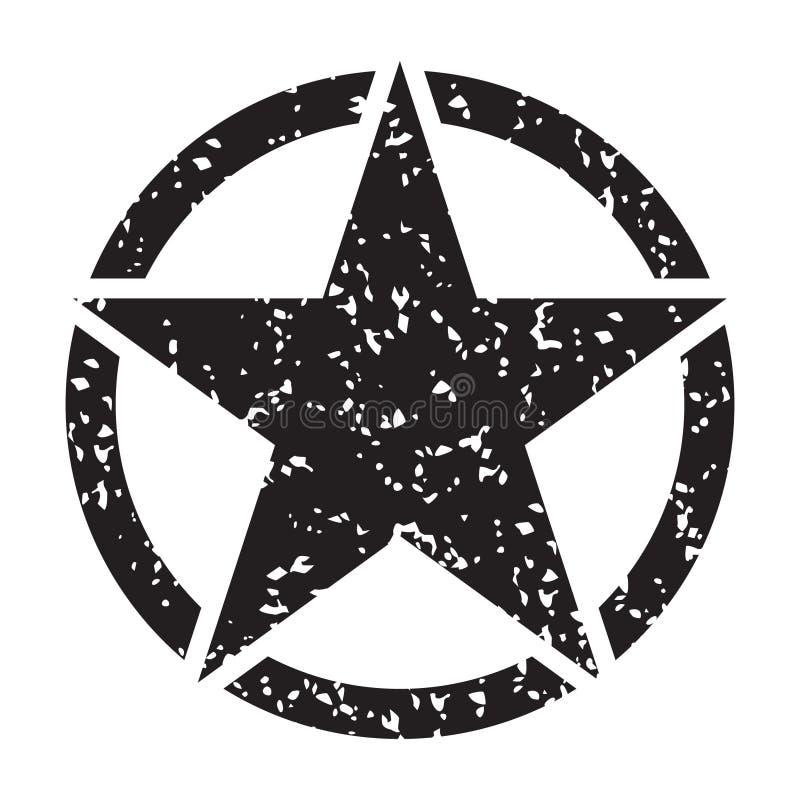 Stjärna för retro grunge för tappning svart i cirkel på vit bakgrund, vektorillustration stock illustrationer