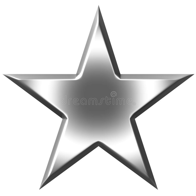 stjärna för silver 3d vektor illustrationer