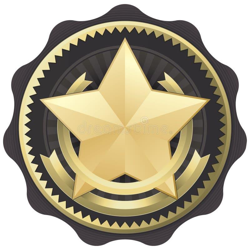 stjärna för skyddsremsa för utmärkelseemblemguld royaltyfri illustrationer