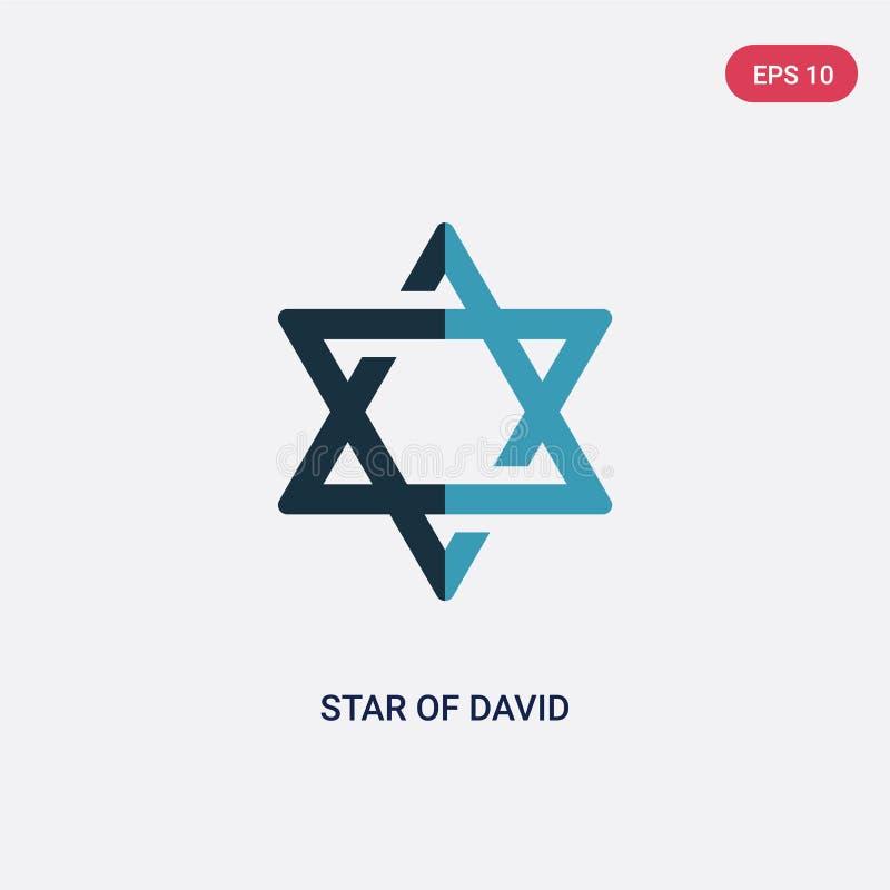 Stjärna för två färg av den david vektorsymbolen från religionbegrepp den isolerade blåa stjärnan av symbolet för det david vekto stock illustrationer