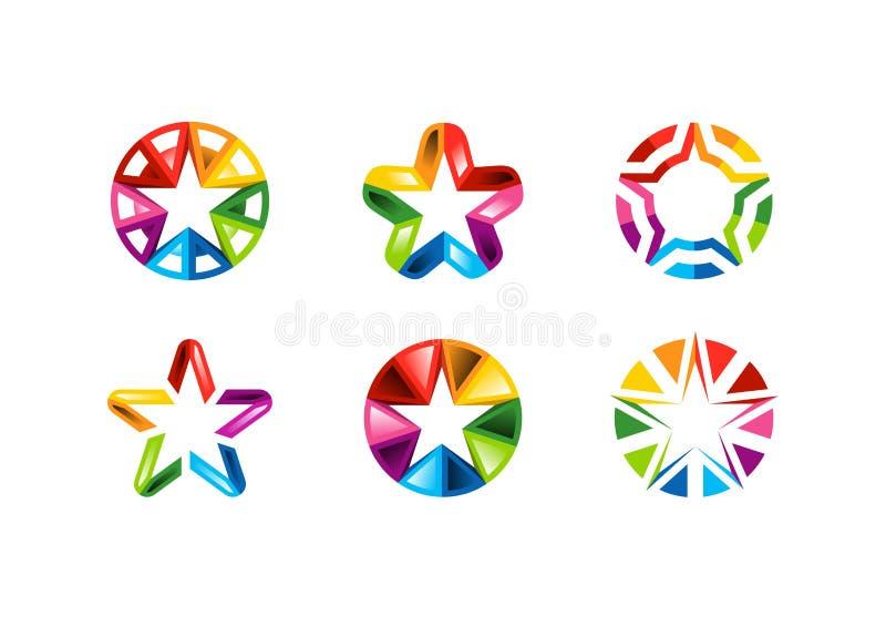 Stjärna logo, idérik uppsättning av samlingar för logo för stjärnor för cirkelbeståndsdelabstrakt begrepp, design för stjärnasymb royaltyfri illustrationer