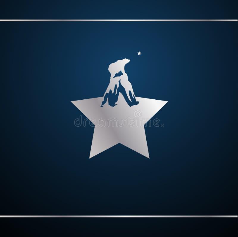 Stjärna med berg och björn vid bergstoppen Bär och titta på stjärnan Utformningsmall för Retro-logotyp royaltyfri illustrationer