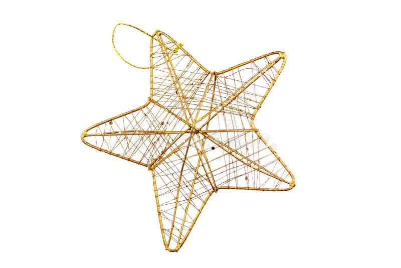 Stjärna med den guld- ramen och att fläta samman guld- trådar som isoleras på vit bakgrund arkivfoto