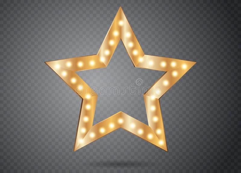 Stjärna med isolerade ljus Lyxig vektorillustration av den guld- stjärnan med skenljuskulor royaltyfri illustrationer