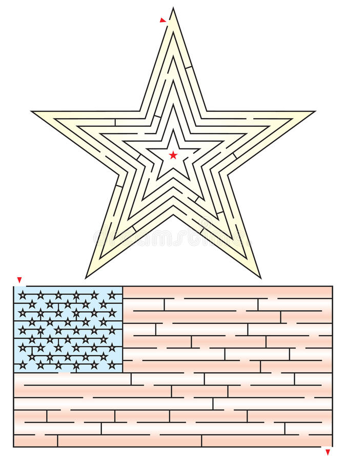 Stjärna och flaggalabyrint stock illustrationer