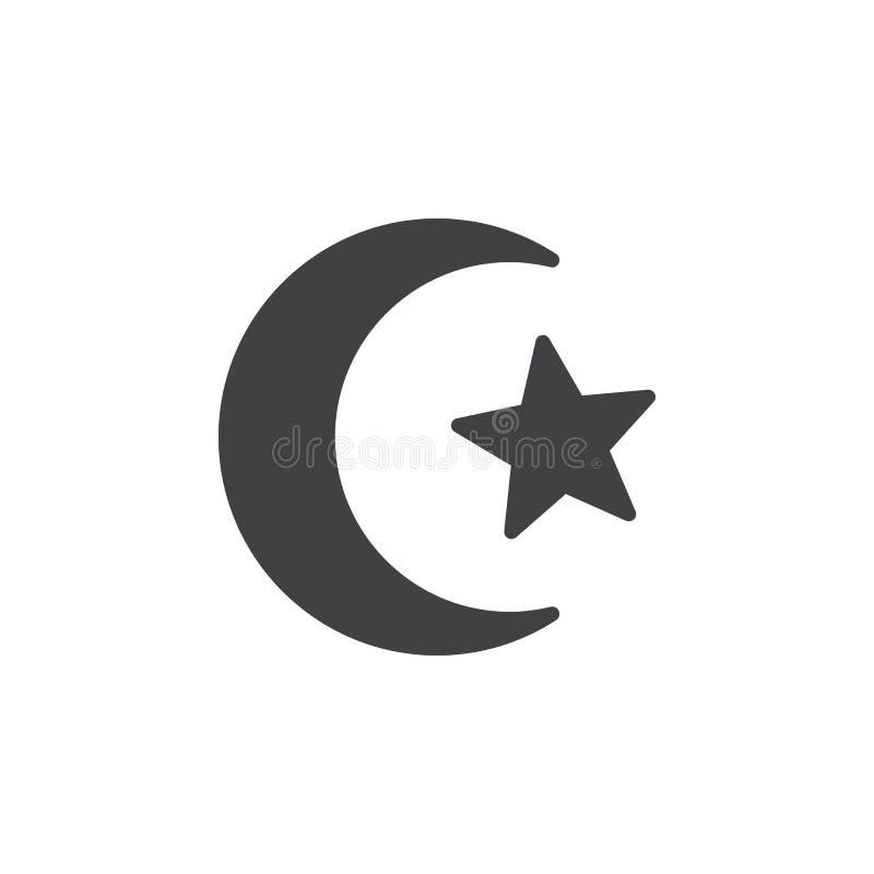 Stjärna och halvmånformig av islamsymbolsvektorn, fyllt plant tecken, fast pictogram som isoleras på vit stock illustrationer