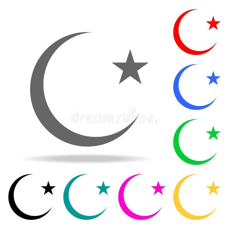 Stjärna- och halvmånformigmåneskårasymbol Beståndsdelar i mång- kulöra symboler för mobila begrepps- och rengöringsdukapps Symbol vektor illustrationer