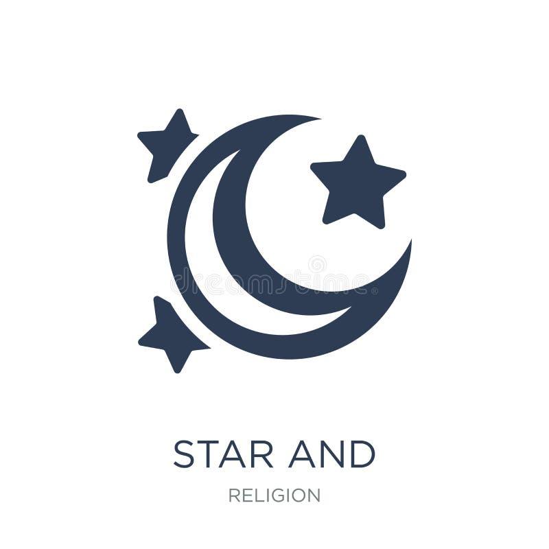 stjärna- och halvmånformigmånesymbol  stock illustrationer