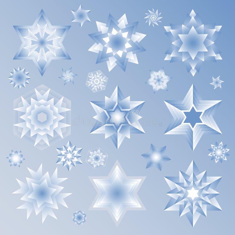Stjärna- och snöflingasymbolsuppsättning royaltyfri illustrationer