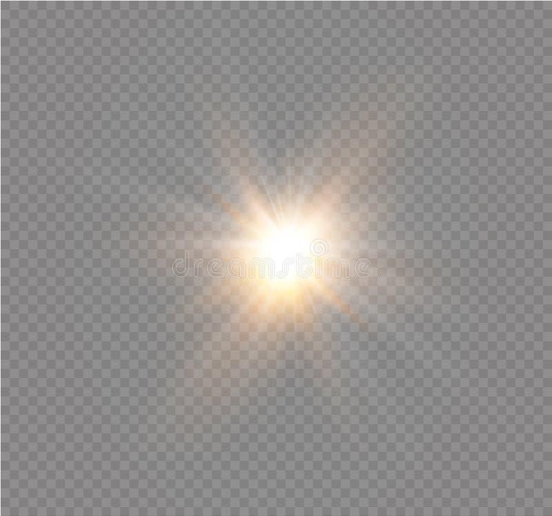 Stjärna på en genomskinlig bakgrund, ljus effekt, vektorillustration bristningen med mousserar royaltyfri illustrationer