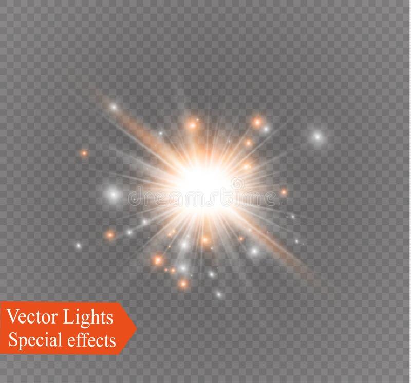 Stjärna på en genomskinlig bakgrund, ljus effekt, vektorillustration bristningen med mousserar vektor illustrationer