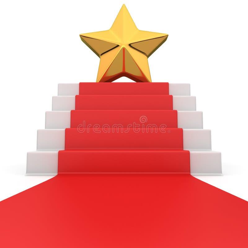 Stjärna på röd matta stock illustrationer