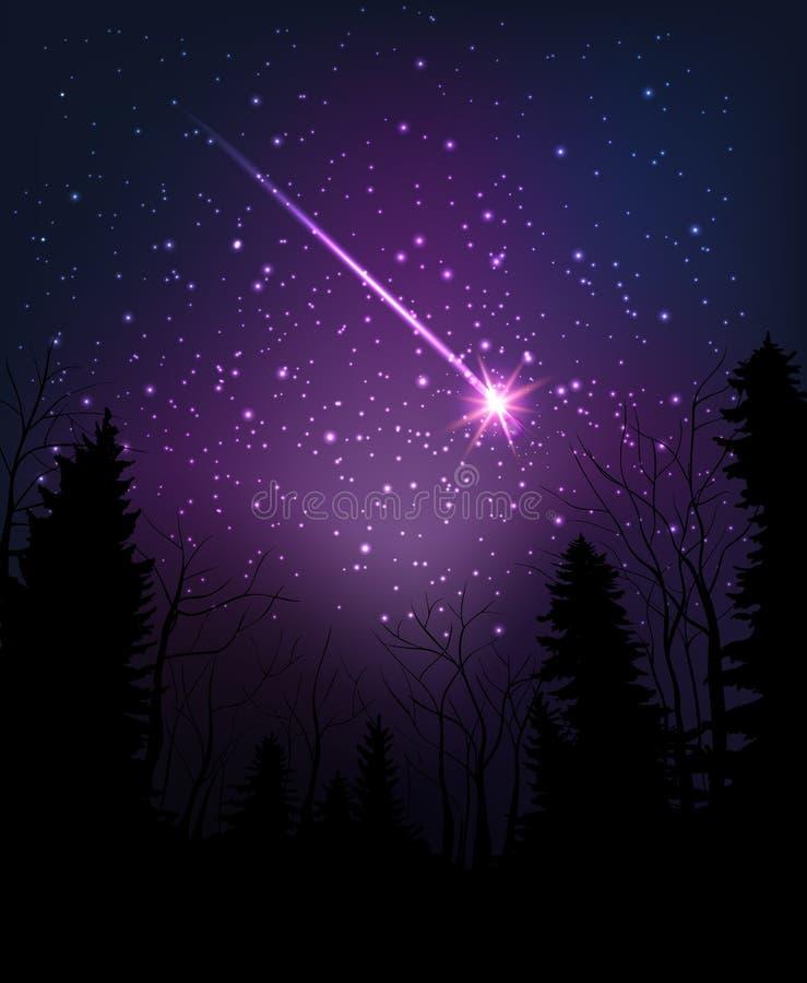 Stjärna som faller till och med mörk natt Stjärnklar himmel ovanför mörkerskog stock illustrationer