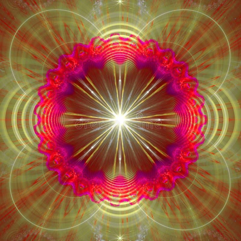 Stjärna som omges av en cirkel och krabba dekorativa strukturer, all i glänsande rosa färger, lilor, gräsplan royaltyfri illustrationer