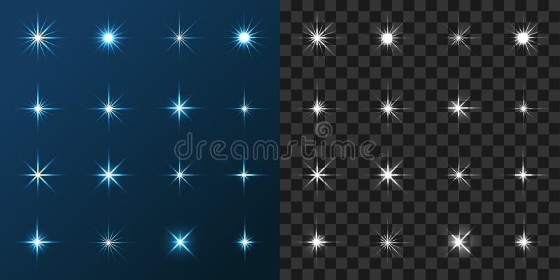 Stjärna 16 ställde in på blått och Gray Background royaltyfri illustrationer