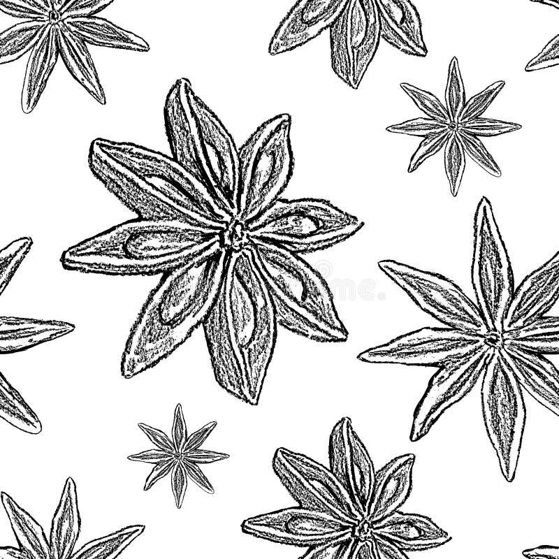 Stjärnaanis, den badian illustrationen som isoleras på vit bakgrund, den hand drog grafiska vektorn, skissar, den sömlösa modelle vektor illustrationer