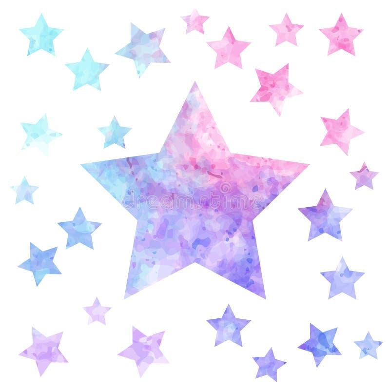 Stjärnabakgrund i färgrik vattenfärg royaltyfri illustrationer
