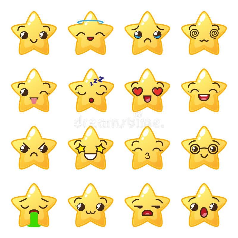 Stjärnaemoji Gulliga emoticons Framsidasymbol Kawaii stock illustrationer