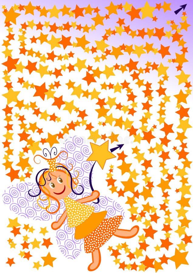 För mazelabirinth för stjärnor felik lek royaltyfri illustrationer