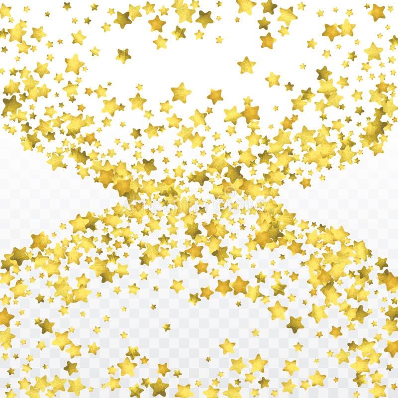 Stjärnaguldkonfettier bakgrund firar Guld- mousserar och prickar på den svarta bakgrunden stock illustrationer