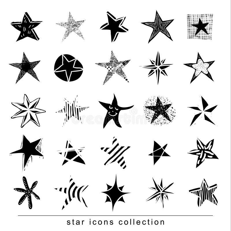 Stjärnaklotter, hand dragen vektorillustration stock illustrationer