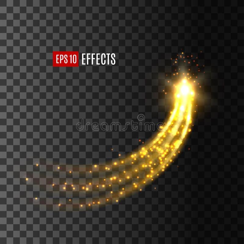 Stjärnakomet för ljus effekt blänker slingavektorsymbolen vektor illustrationer