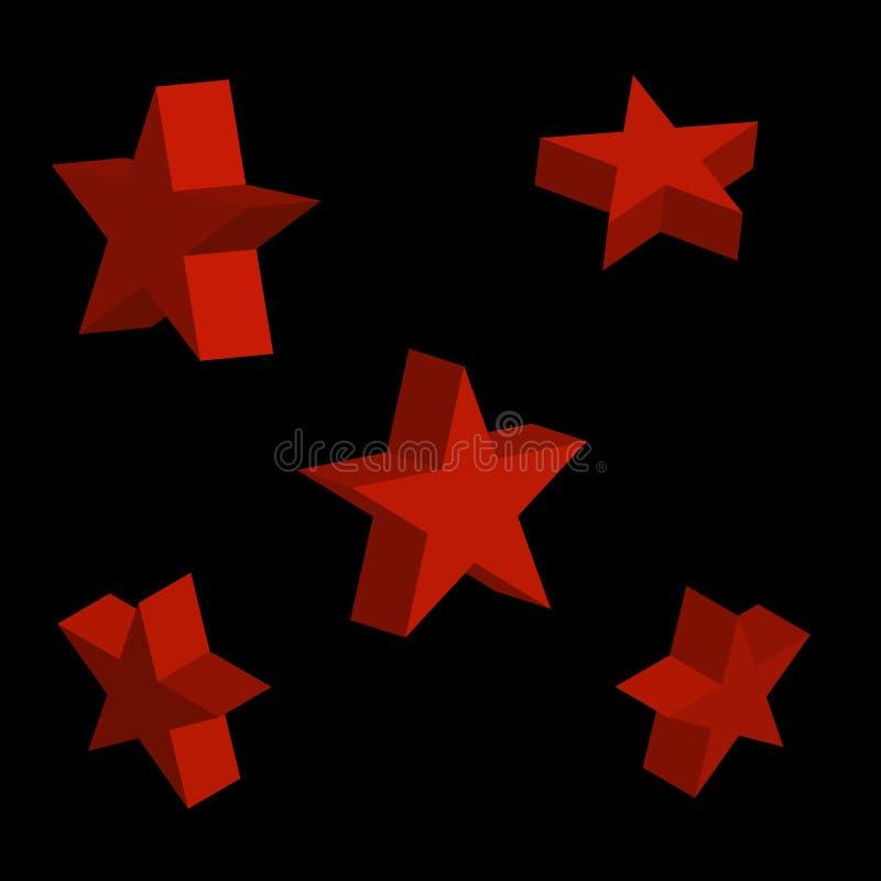 stjärnan 3d ställde in med variationer också vektor för coreldrawillustration royaltyfria foton
