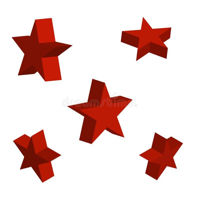 stjärnan 3d ställde in med variationer också vektor för coreldrawillustration arkivbild