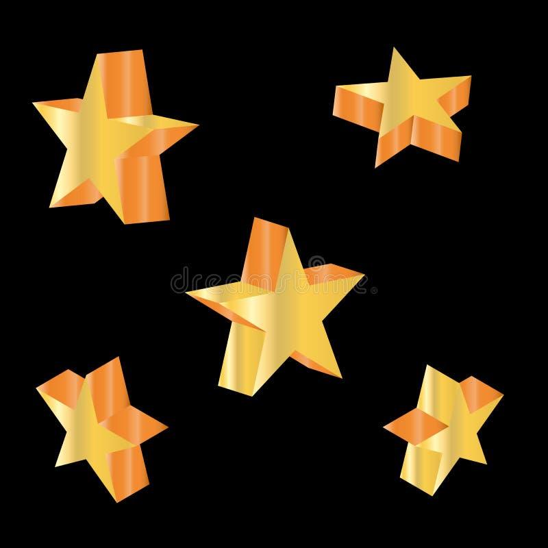 stjärnan 3d ställde in med variationer också vektor för coreldrawillustration royaltyfria bilder