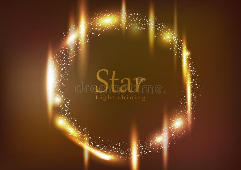Stjärnan den runda ljusa glänsande glödande effektdammexplosionen sprider för neonberöm för den ljusa ramen den guld- vektorn för vektor illustrationer