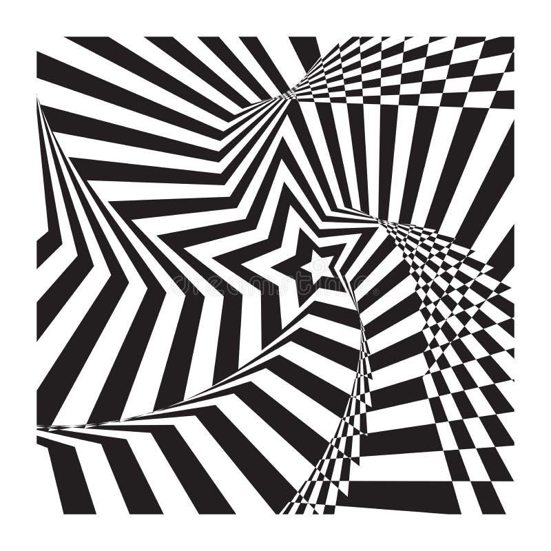 Stjärnan för abstrakt begrepp gör randig spiralt optisk ilusionbakgrund royaltyfri foto