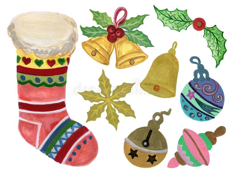 Stjärnan för jul för beståndsdelar för partiet för vattenfärggouachejul, julpynt, bollen, mistel, jul slår, klockor och gif stock illustrationer