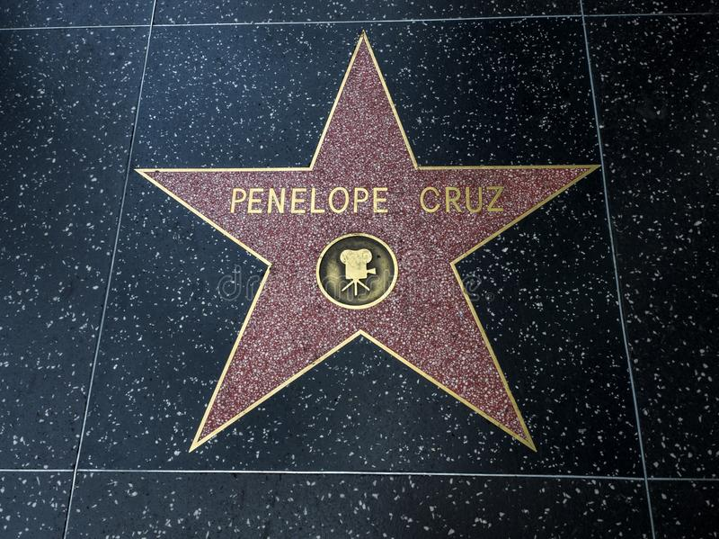 Stjärnan för Penelope Cruz ` s, Hollywood går av berömmelse - Augusti 11th, 2017 - den Hollywood boulevarden, Los Angeles, Kalifo royaltyfri foto