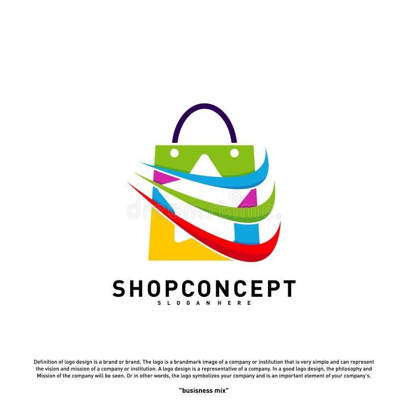Stjärnan shoppar Logo Design Concept Köpcentrum Logo Vector Shoppa och gåvasymbolet royaltyfri illustrationer