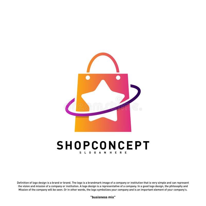 Stjärnan shoppar Logo Design Concept Köpcentrum Logo Vector Shoppa och gåvasymbolet stock illustrationer