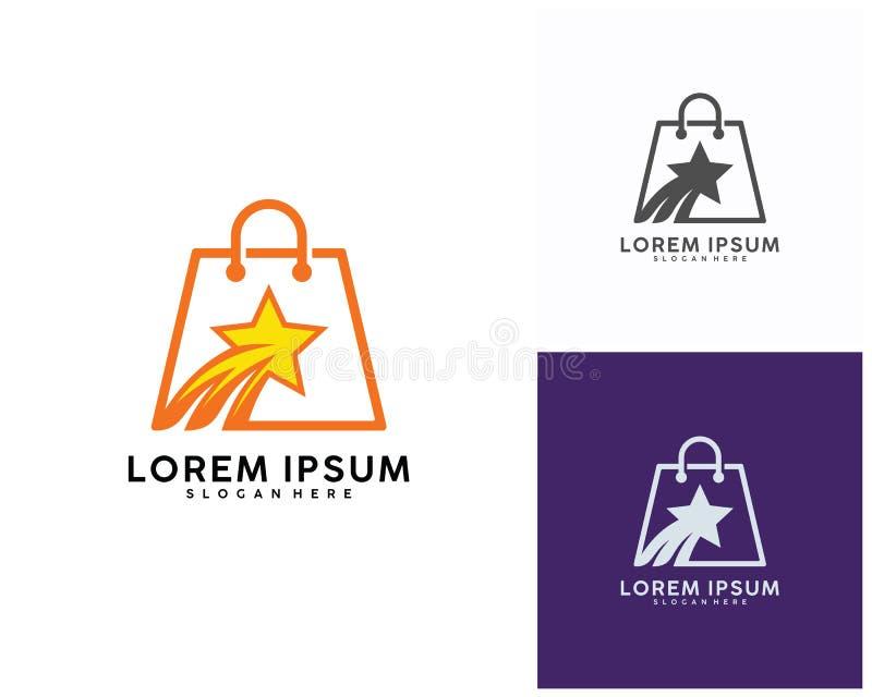 Stjärnan shoppar logodesigner mallen, vektorillustration stock illustrationer