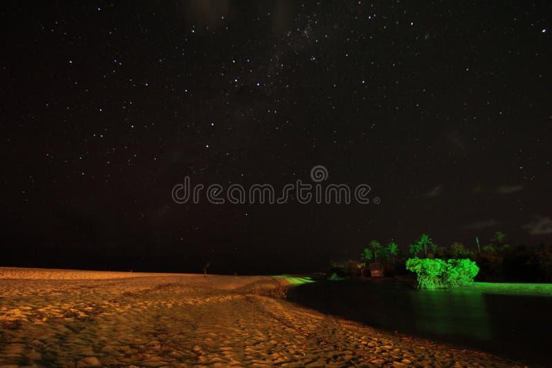 Stjärnanatthimmel över sjön arkivbild