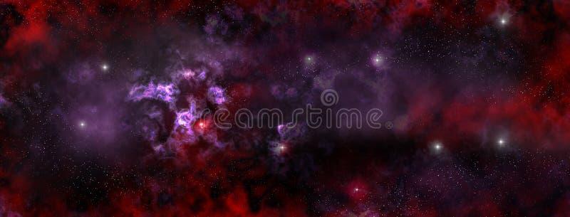 Stjärnanebulosa i det djupa utrymmet vektor illustrationer