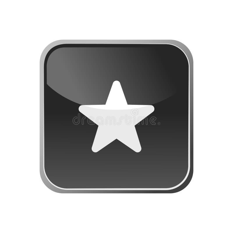 Stjärnasymbol på en fyrkantig knapp royaltyfri illustrationer