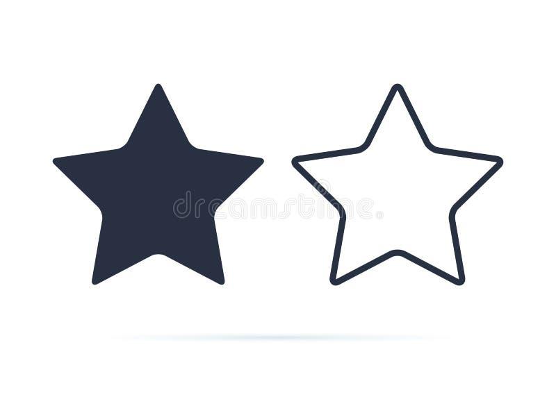 Stjärnasymbol, stjärnasymbolsvektor Belöning som klassar symbolknappen Heltäckande och linjen symboler ställde in för framgång- e royaltyfri illustrationer