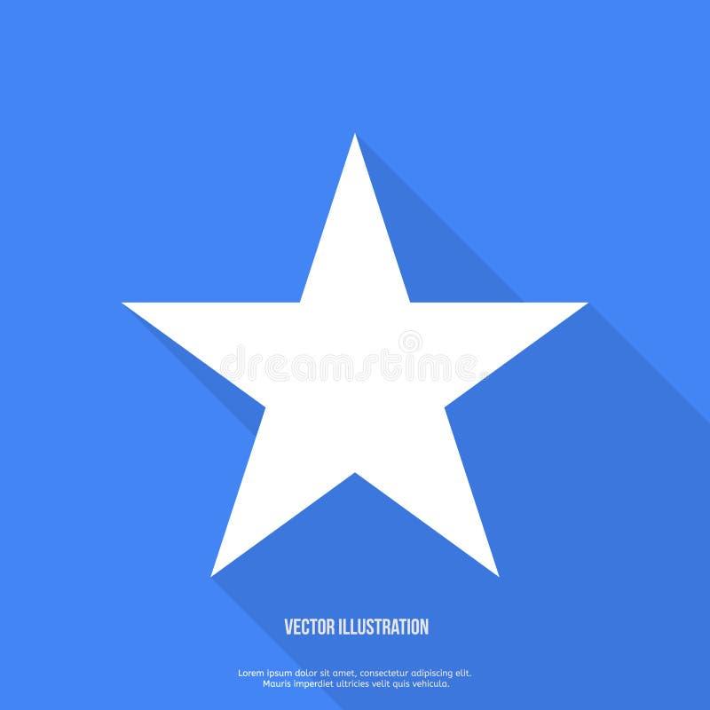 Stjärnasymbol, vektorlägenhetdesign med lång skugga vektor illustrationer