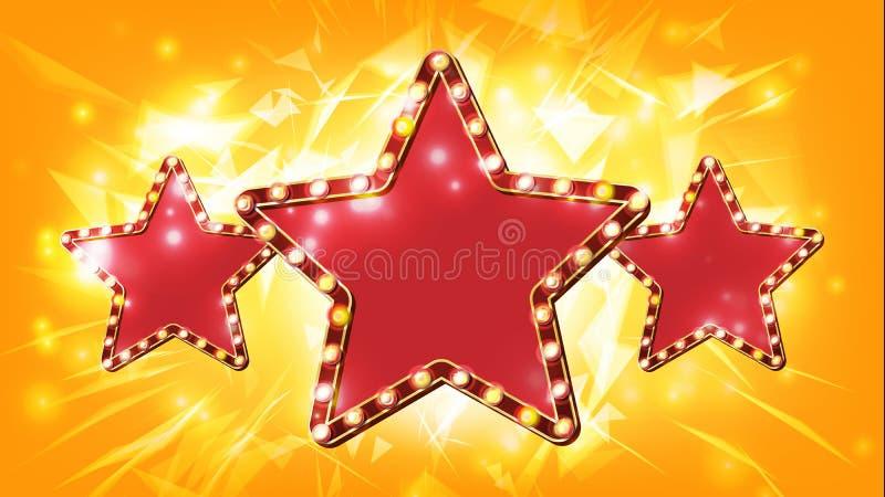 Stjärnateckenvektor glöda för element Retro för guldstjärna för ljus tre baner Premiärfilm, show, disko, kasino, teater vektor illustrationer