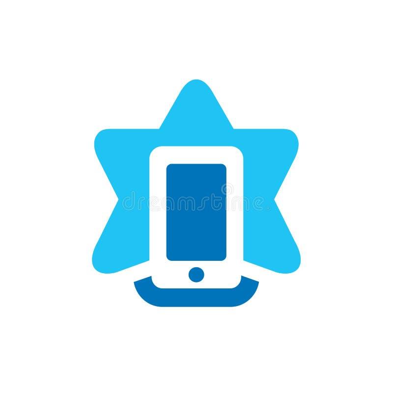 Stjärnatelefonen Logo Design, mobiltelefon shoppar, den enkla vektorsymbolen vektor illustrationer
