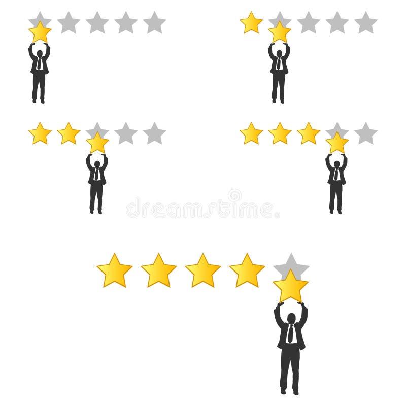Stjärnavärdering Affärsman som rymmer en guld- stjärna i hand, för att ge fem Återkopplingsbegrepp Positiv granskning Vektorillus royaltyfri illustrationer