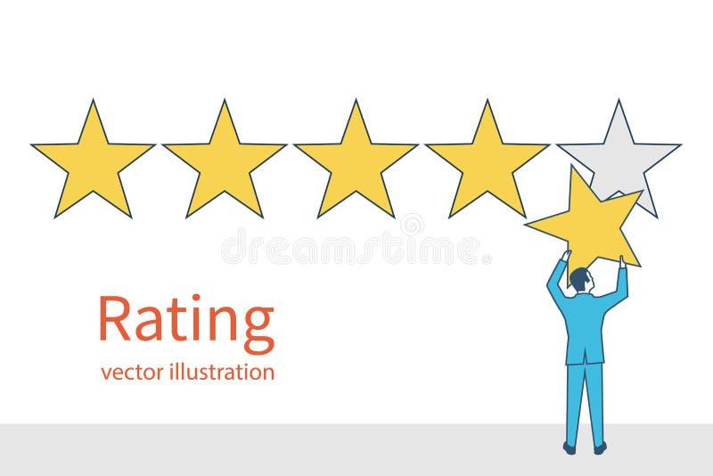 Stjärnavärdering Affärsman som rymmer en guld- stjärna i hand, för att ge fi vektor illustrationer