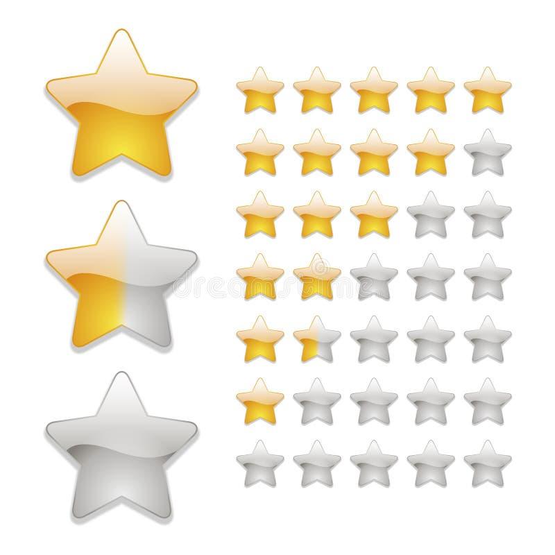Stjärnavärderingssymboler stock illustrationer