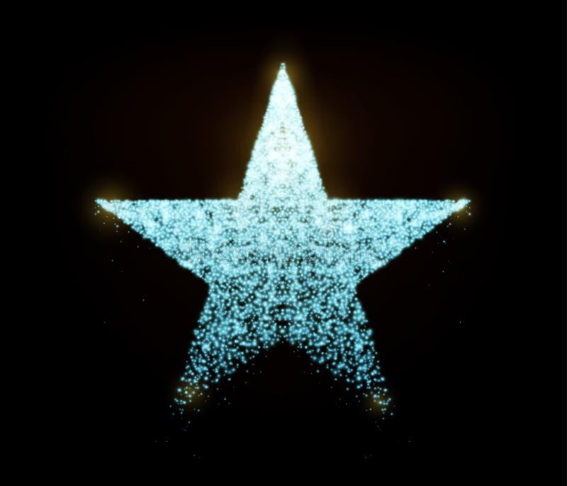 Stjärnavektor med glödande partiklar som isoleras på svart bakgrund Ljus - blå silverstjärnaform består av sken, blänker vektor illustrationer