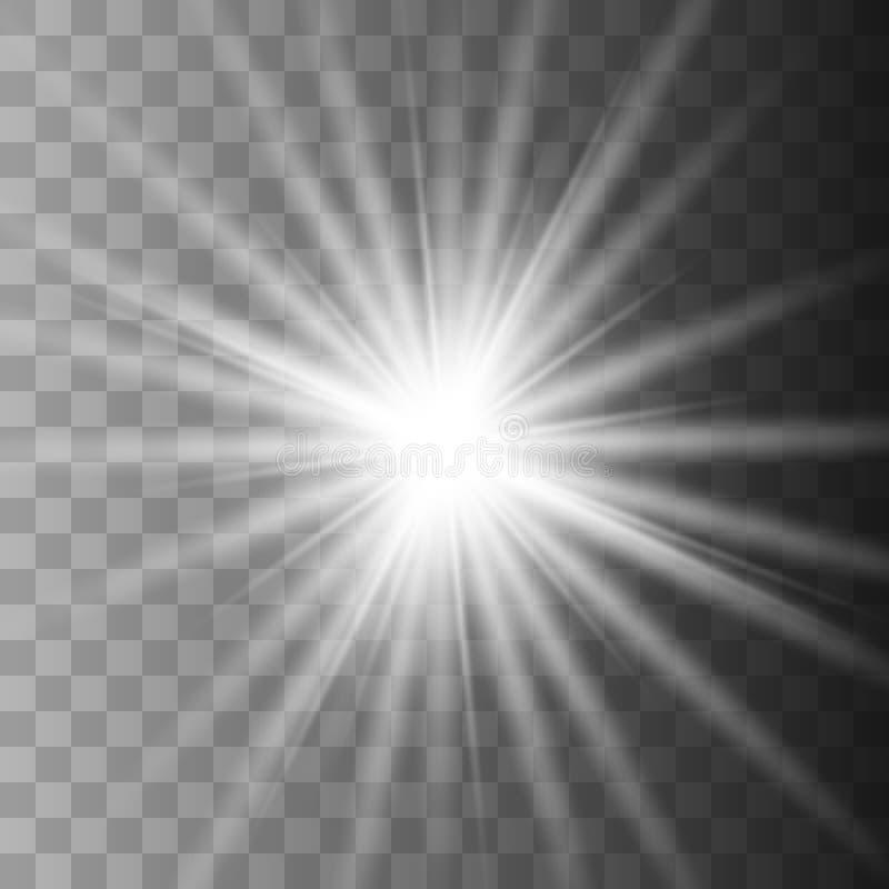 Stjärnavit exploderar på genomskinlig bakgrund royaltyfri illustrationer
